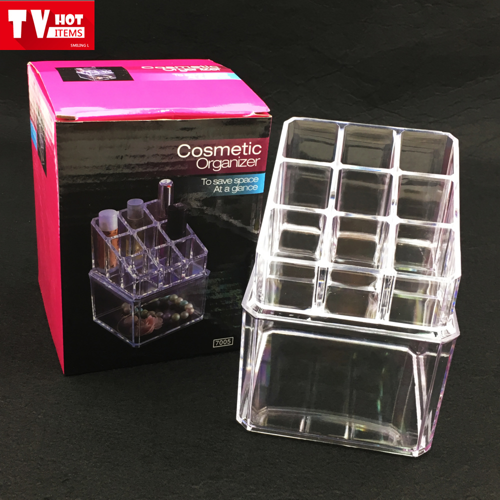 2 layers acrylic square jewelry cosmetics organizer storage display boxes buy acrylic cosmetic organizeracrylic display storage box with dividersnail