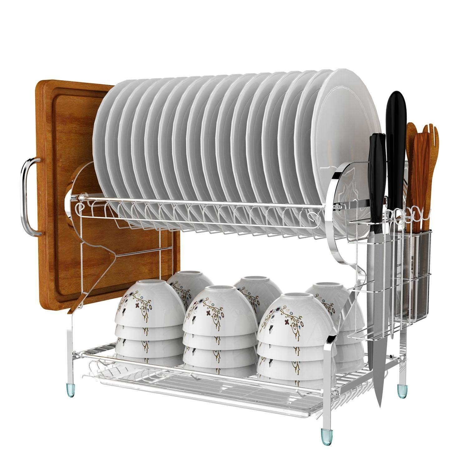 Get quotations · us stockkeland kitchen 2 tiers dish drainer drying rack storage stainless