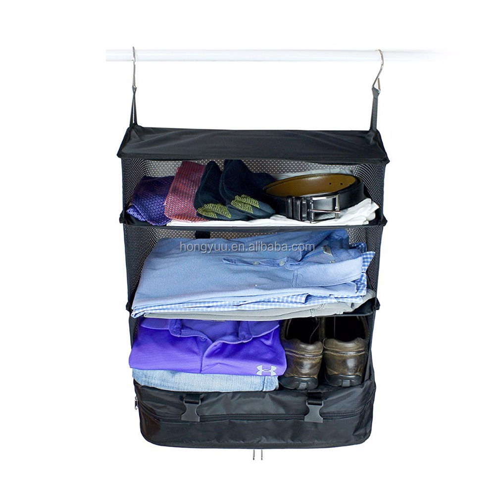Portable Luggage System - Clothes Organiser, Packable Hanging Travel Shelves & Packing Cube Organizer