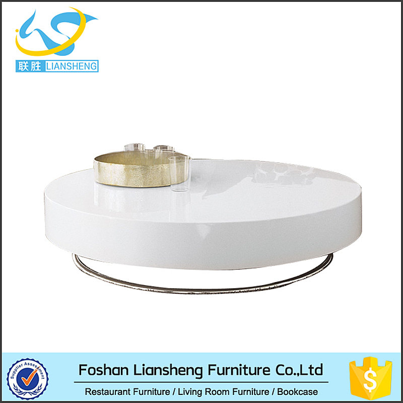White high gloss coffe table wood and stainless steel coffee table