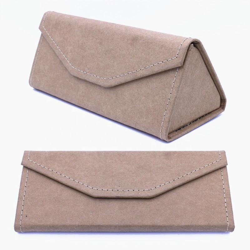 Foldable triangle shape environmental paper new eyeglasses case sunglasses box