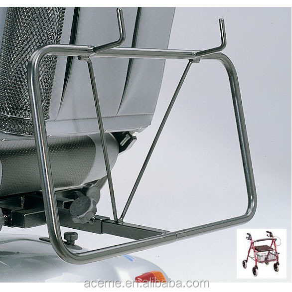 Holder for rollator on mobility scooter, rollator holder