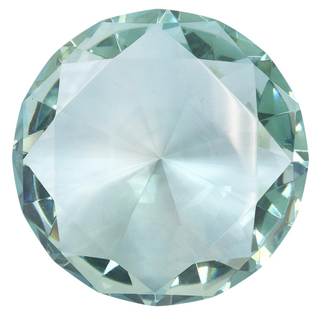 Hongville Fancy Crystal Glass Diamond Paperweight, 100 mm, Sea Blue