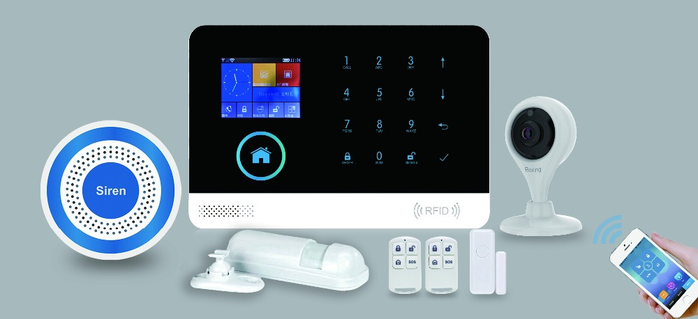 Factory OEM wireless GSM intruder alarm system house security free alarm pushes APP GSM WiFi GPRS alarm system