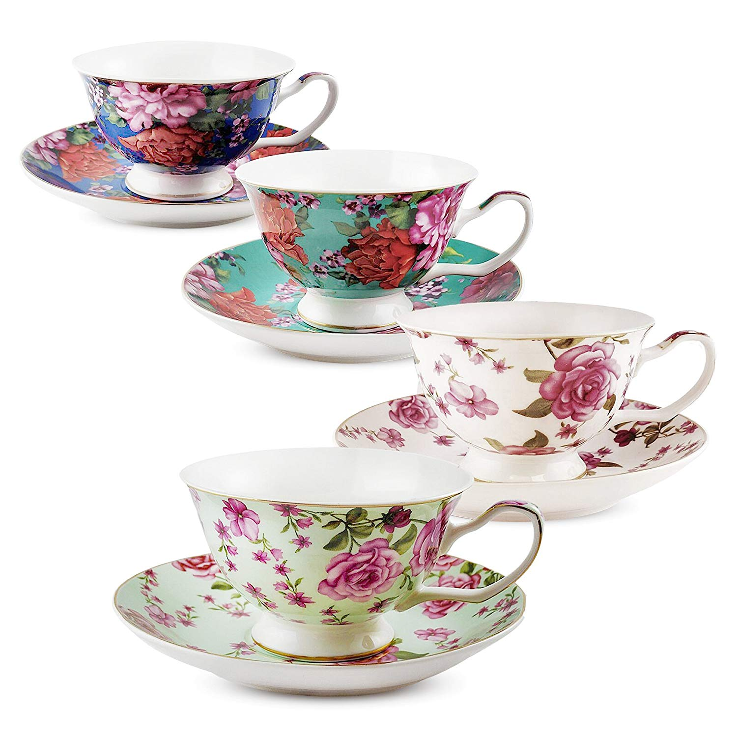 BTäT- Tea Cups, Tea Cups and Saucers Set of 4, Tea Set, Floral Tea Cups (7oz), Cappuccino Cups, Latte Cups, Tea Set for Adults, Porcelain Tea Cups, Tea Cups for Tea Party, Rose Teacups, China Tea Cups