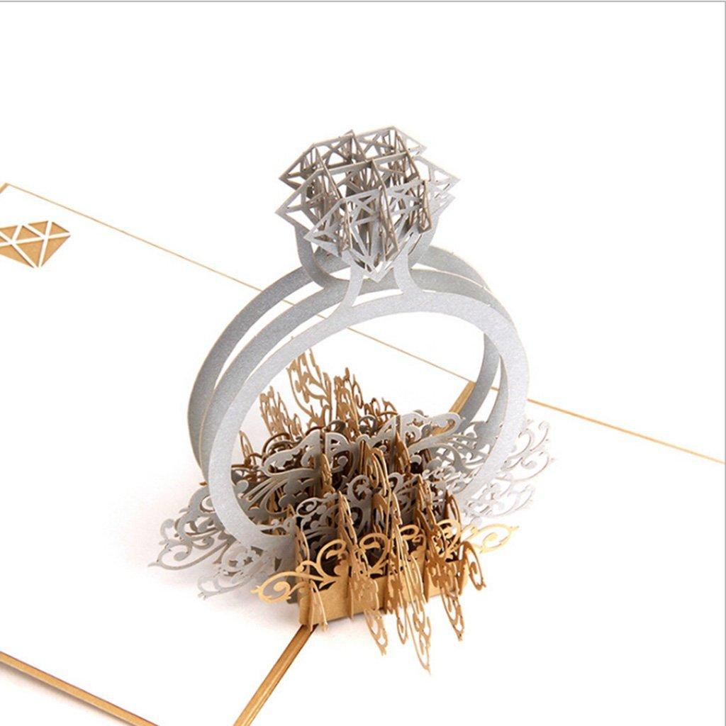 Hibye 3D Pop Up Wedding invites invitations cards, Ring Wedding invitations Laser-cut Lace Flower Pattern Invitation (One)