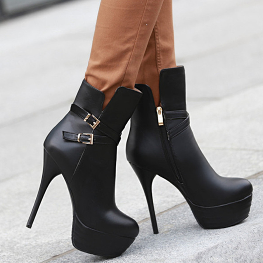 fc47ede3b03 Get Quotations · Stieltto high heel platform sexy womens leather ankle boots  big size brand new fashion fall 2015