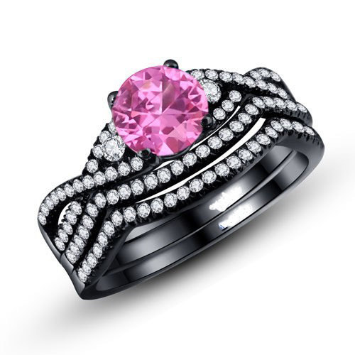 Round Cut Pink Cubic Zirconia 925 Sterling Silver Women's