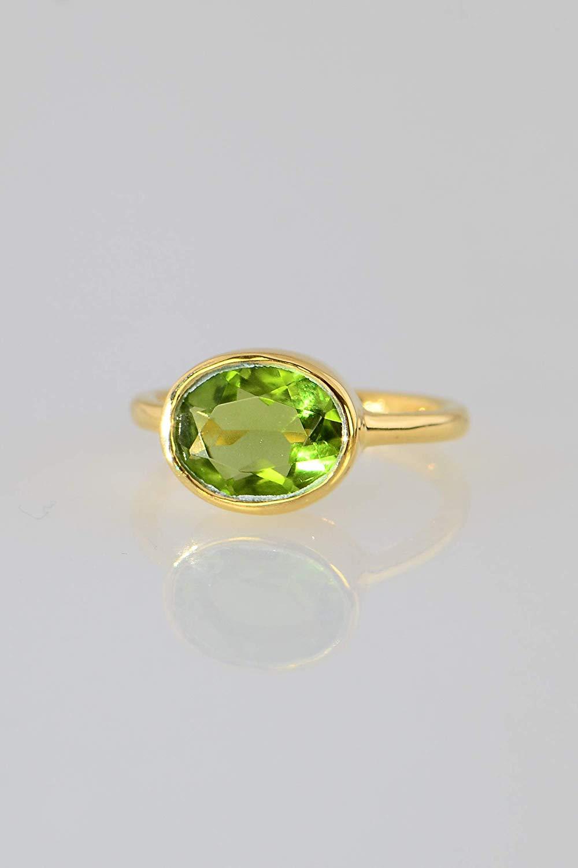 3b944f8ed Get Quotations · Peridot ring, Green Peridot Quartz Ring, August  Birthstone, Colored gemstone ring, Gold