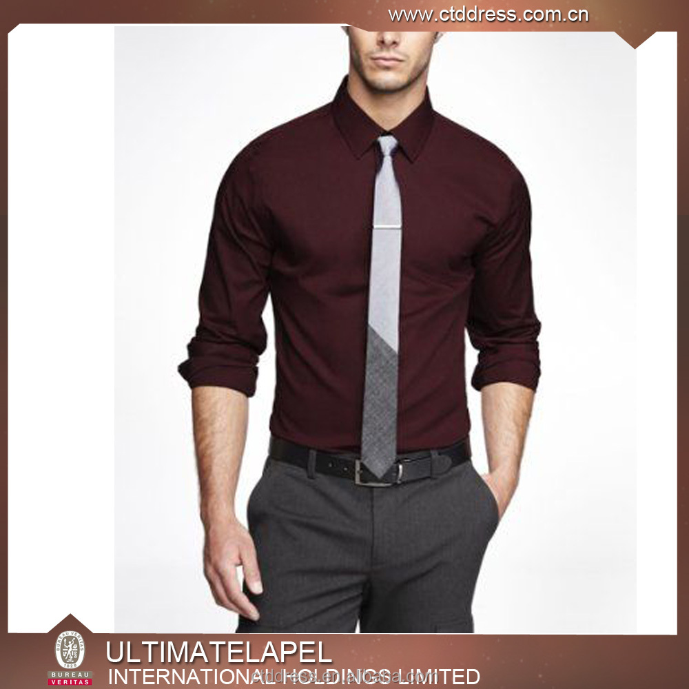 Wholesale New Style Custom Made Red Wine Mens Dress Shirts Models