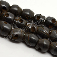 9x10mm hand carved skull head beads natural cattle Bone black Skull Beads for jewelry making