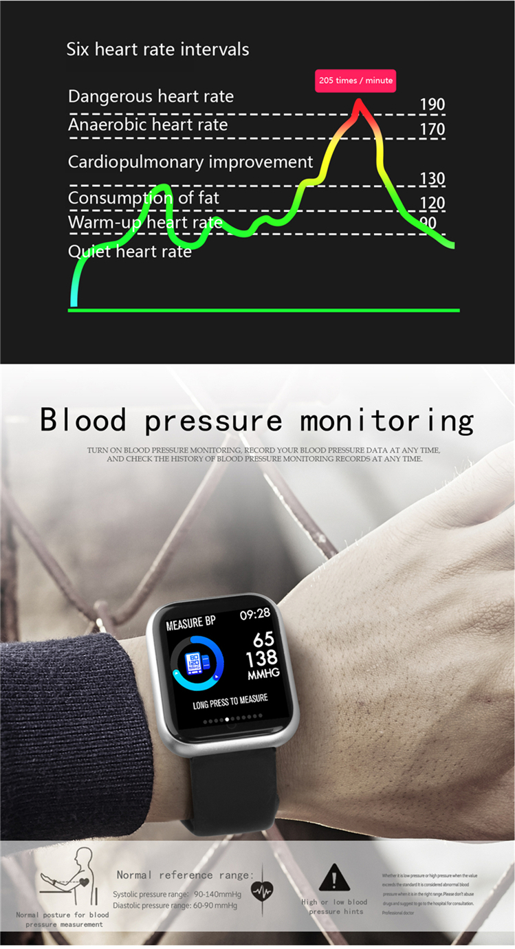 P70 P68 Fitness Tracker sports Watch CE and Rohs Activity Tracker Bracelet Heart Rate Blood Pressure and Oxygen Monitor