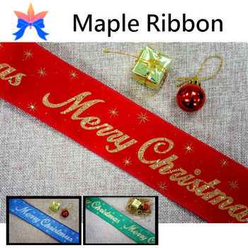 2015 glitter merry christmas wired christmas ribbon - Wired Christmas Ribbon