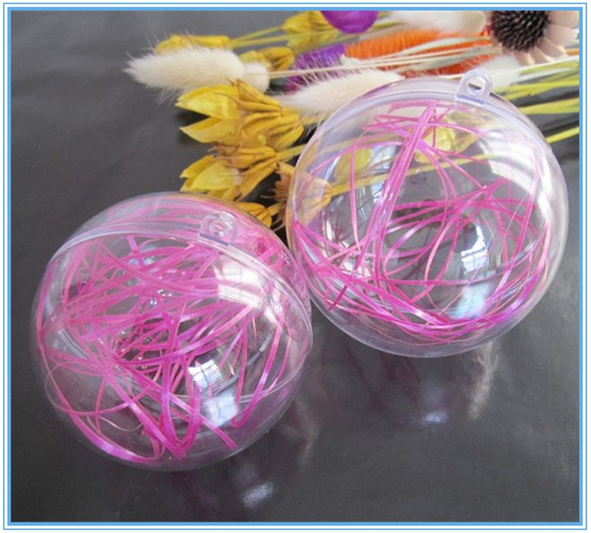 Latest Design Fashionable Transparent Decorative Plastic Christmas Balls Openable Haning plastic candy container