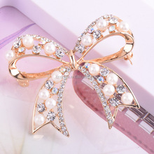 Nice pearl rhinestone bowknot brooch,lovely girl dresses wedding butterfly hijgb brooch pin/clip wholesale