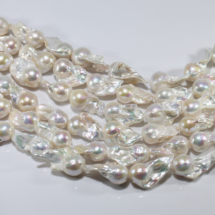 15x20mm nuclear fireball nucleated nucleus huge big large size bead strand real natural fresh water baroque freshwater pearls