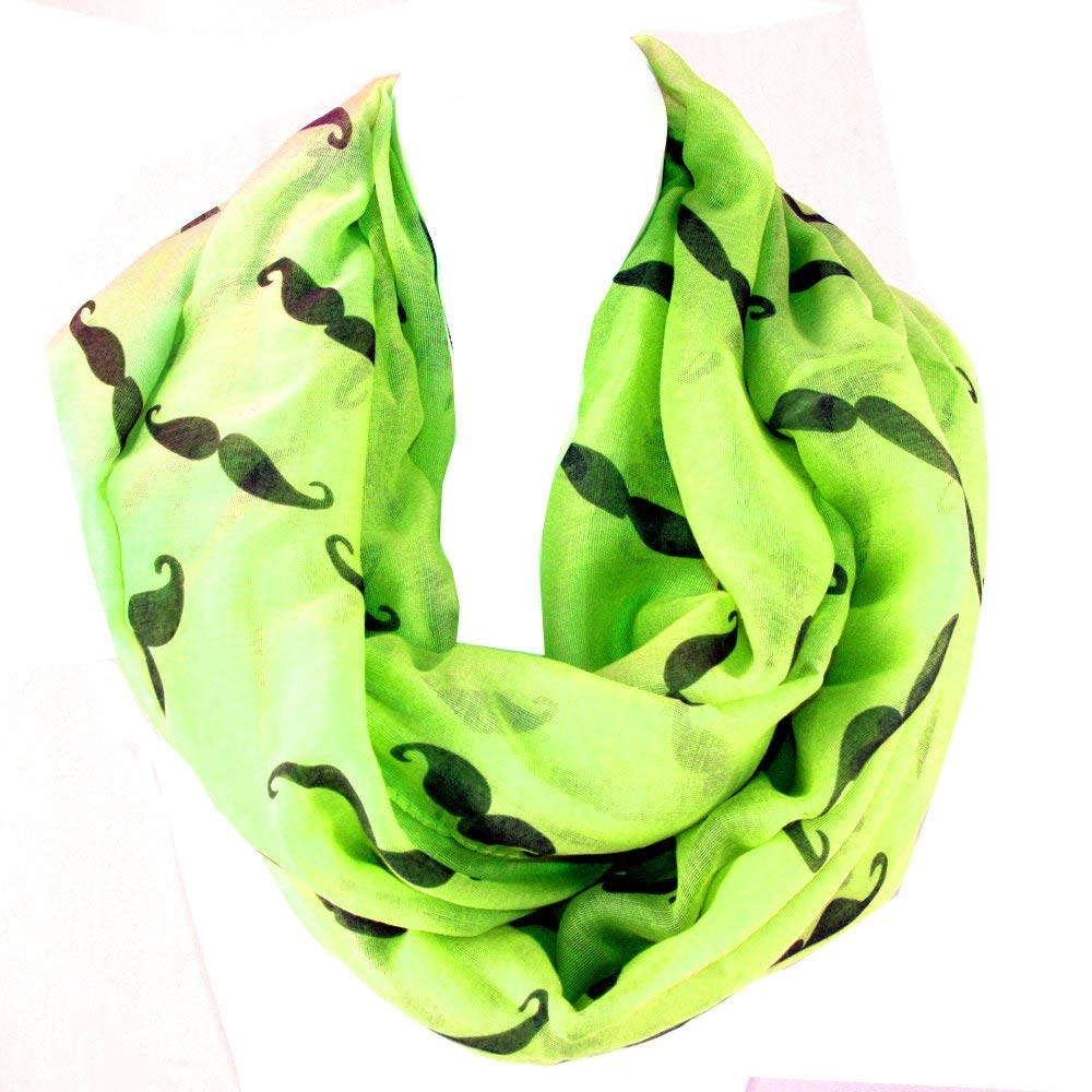 Trendy Hipster Styles of Handlebar Mustache Infinity Figure Eight Scarf (Green)