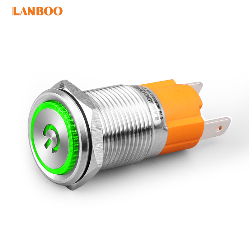 16MM large current 10A IP65 waterproof latch metal push button <strong>switch</strong> with annular illuminated