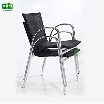 Uv Resistant Antirust Metal Rattan Armchair Set Multi-Colored Pe Wicker Dinning Chairs