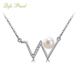 Initial style 925 sterling silver pearl necklace mounting with zircon stone
