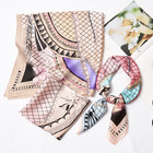 wholesale cheap fashion lady hair neck scarves twill designer digital printed square silk scarf for woman