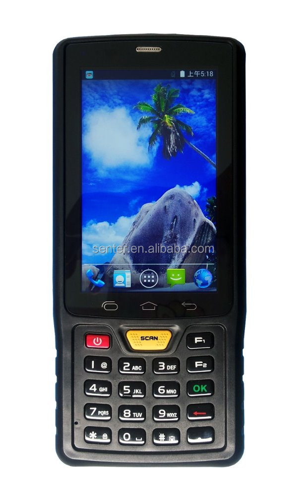 Pda with built-in printer with rugged handheld pda Android 4.4 OS 3800mah battery with Barcode scanner 4 inch touch scree