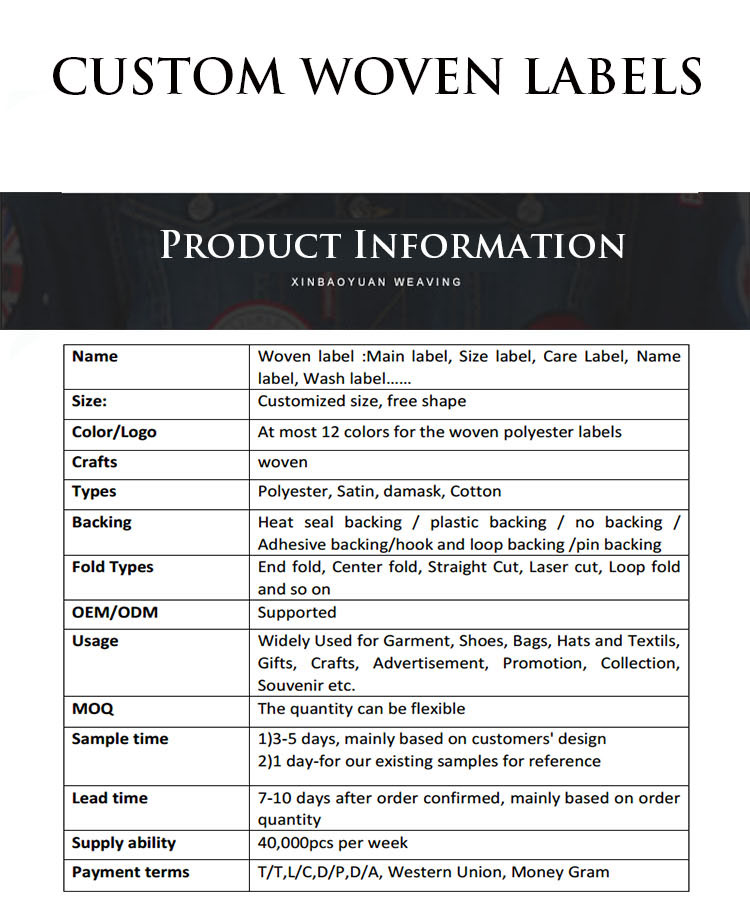 High Quality Clothing Brand Custom Woven Label