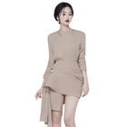 2 Colors New Fashion Top Spring Long Sleeve Casual Women Dress Irregular two-piece Sets Skirt Ladies