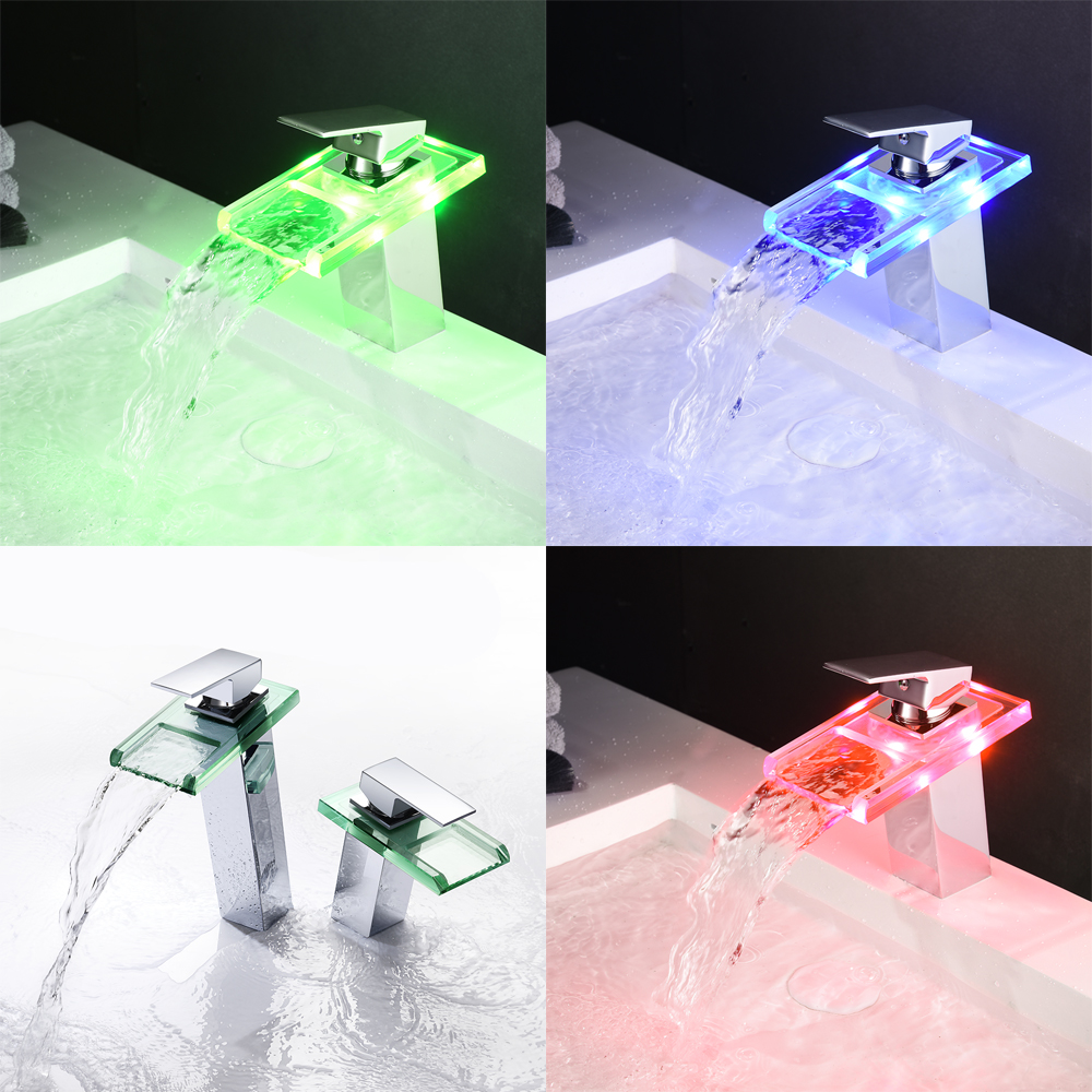 Bathroom LED waterfall basin thermostatic mixer faucet