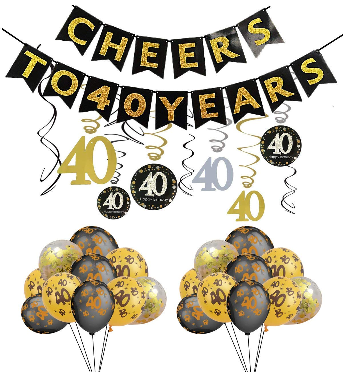 Get Quotations 40th Birthday Party Decorations Cheers To 40 Years BannerSparkling 30 Foil Hanging Swirls Number