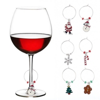 WM-10092A Christmas Holiday Wine Charms Tags Drink Markers Christmas Ornaments Wine Glass Ring Christmas Tree Snowflake Charm