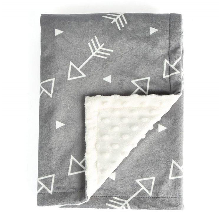 100% Polyester doux Minky Double couche polaire royale couverture de bébé