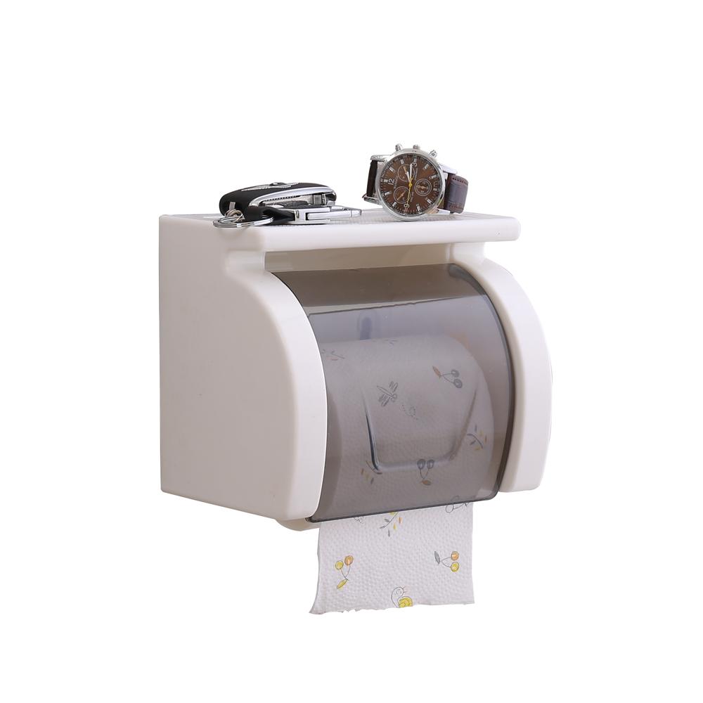 Bathroom White Plastic Freestanding Toilet Roll Holder