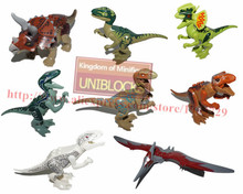 8pcs dinosaur toys minifigures building blocks Dino toys jurassic world bricks legotoys christmas gift action figures