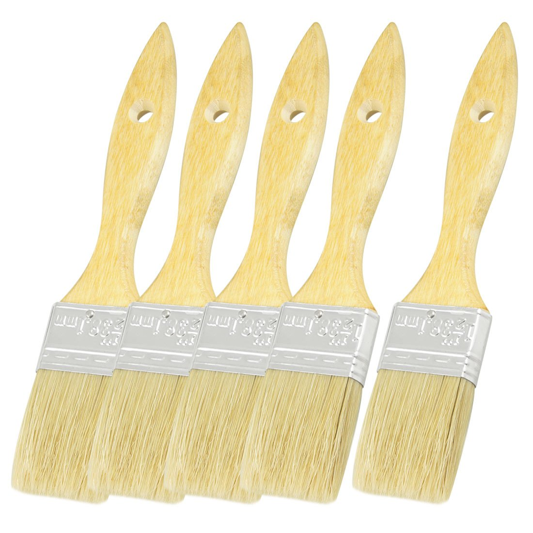 uxcell Furniture Painting Bristle Hair Wooden Handle Paint Brush 1.5 Inch Wide 5pcs