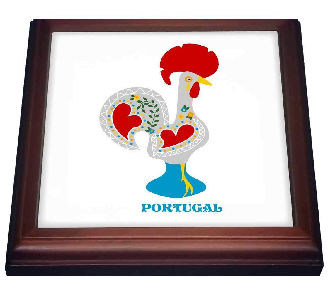 """3dRose trv_160671_1 The White Portuguese Rooster or Galo De Barcelos Trivet with Ceramic Tile, 8"""" by 8"""", Brown"""
