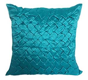 Light Turquoise Lumbar Textured Pillow Cover With Smocking Details Light Turquoise Throw Pillow Cover In Solid Color (12x18 inches, Light Turquoise, Set of 1 Pillow Cover)