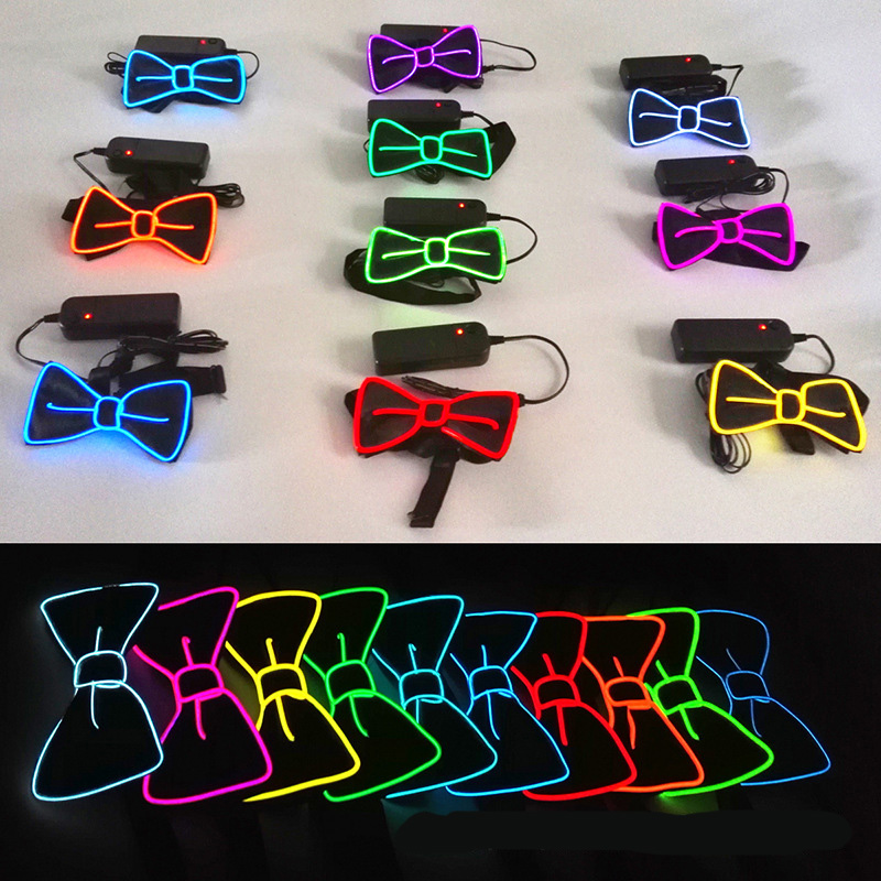 NB-392 10 Colors Choice Function Night Bowtie Necktie Light Up Led Bow Tie For Party Christmas
