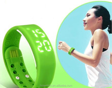 USB Smartband W2 Bracelet Time Display Smart Wrist Band Watch With Calorie 3D Pedometer