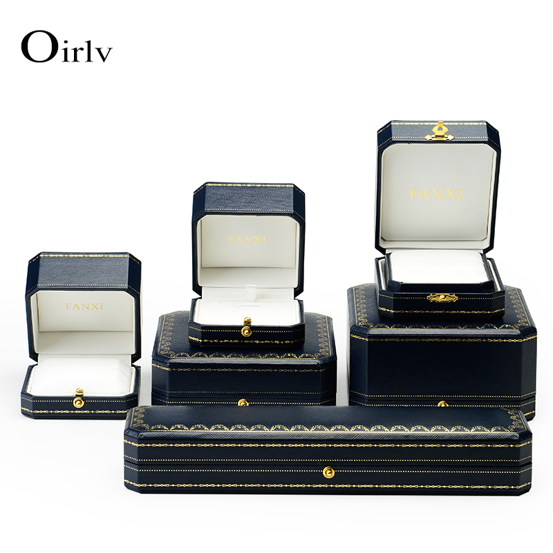 Oirlv OEM plastic storage gift boxes for jewelry display counter ring bangle bracelet packaging leather insert metal jewelry box