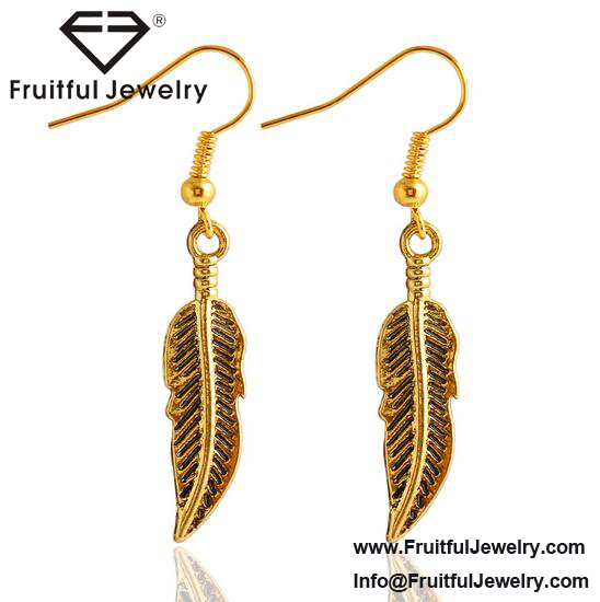 Personalised Jewelry vivid and great in style gold silver feather drop earring Valentine Jewelry Designs For Girl