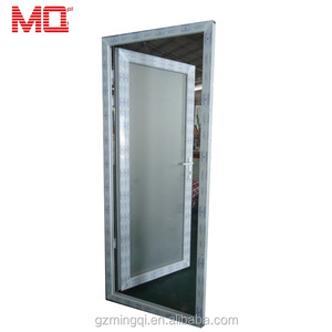 Factory price pvc tempered glass waterproof exterior door with grill design