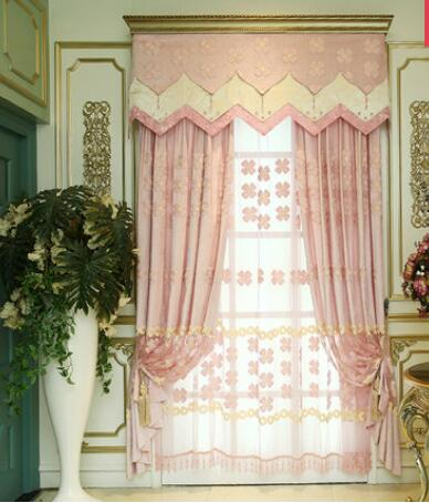Modern high-end living room bedroom cozy European-style curtains custom blackout curtains custom pink wedding room