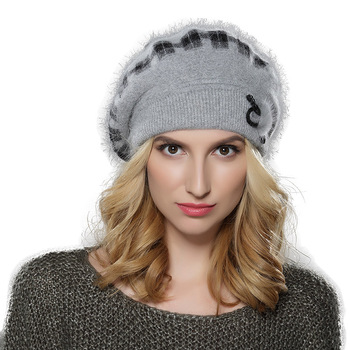 f7a3481548638 New pattern women angora wool knit beret cap for lady hat with mink flower  decoration