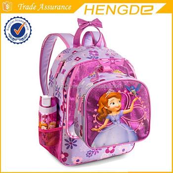 Children Sofia shining school bag set with lunch bag