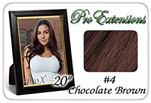 "Pro Extensions 20"" x 39"" #4 Chocolate Brown 100% Clip on in Human Hair Extensions"