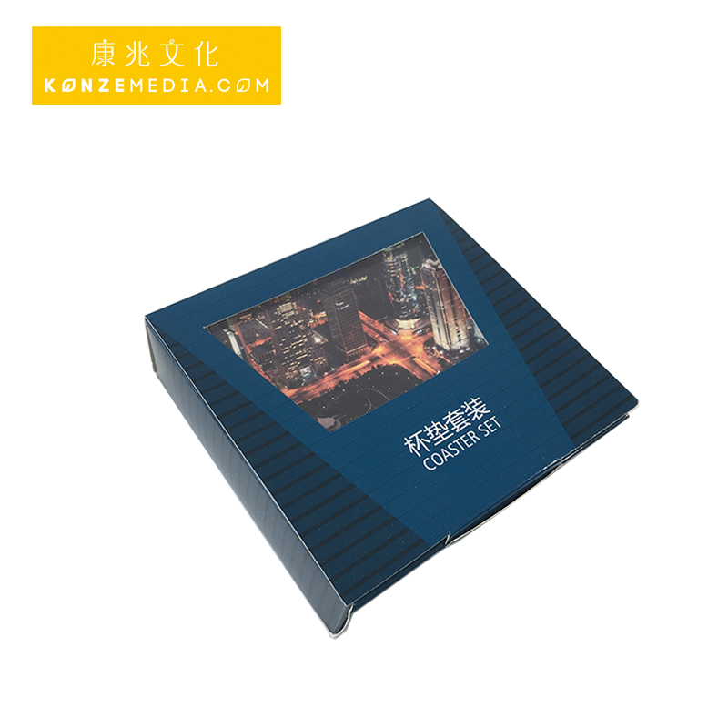 Professtional supplier heavy blue square for cup mat packed packaging printing gift box
