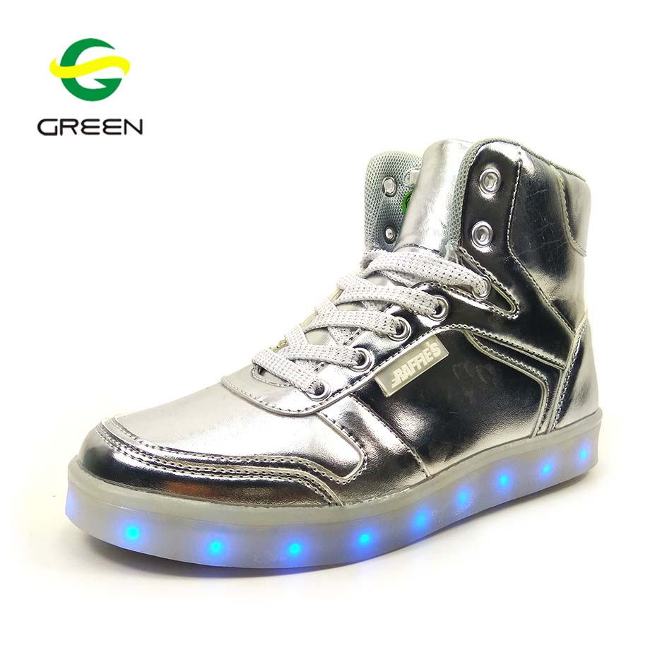 Greenshoe led light high heel shoes kids led light up dance shoes kids simulation led shoes kids