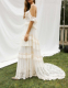2019 New Arrival Hight Quality Boho Embroidery Off shoulder wedding dress Train skirt White Lace Trim bridal Gown Casual Dress