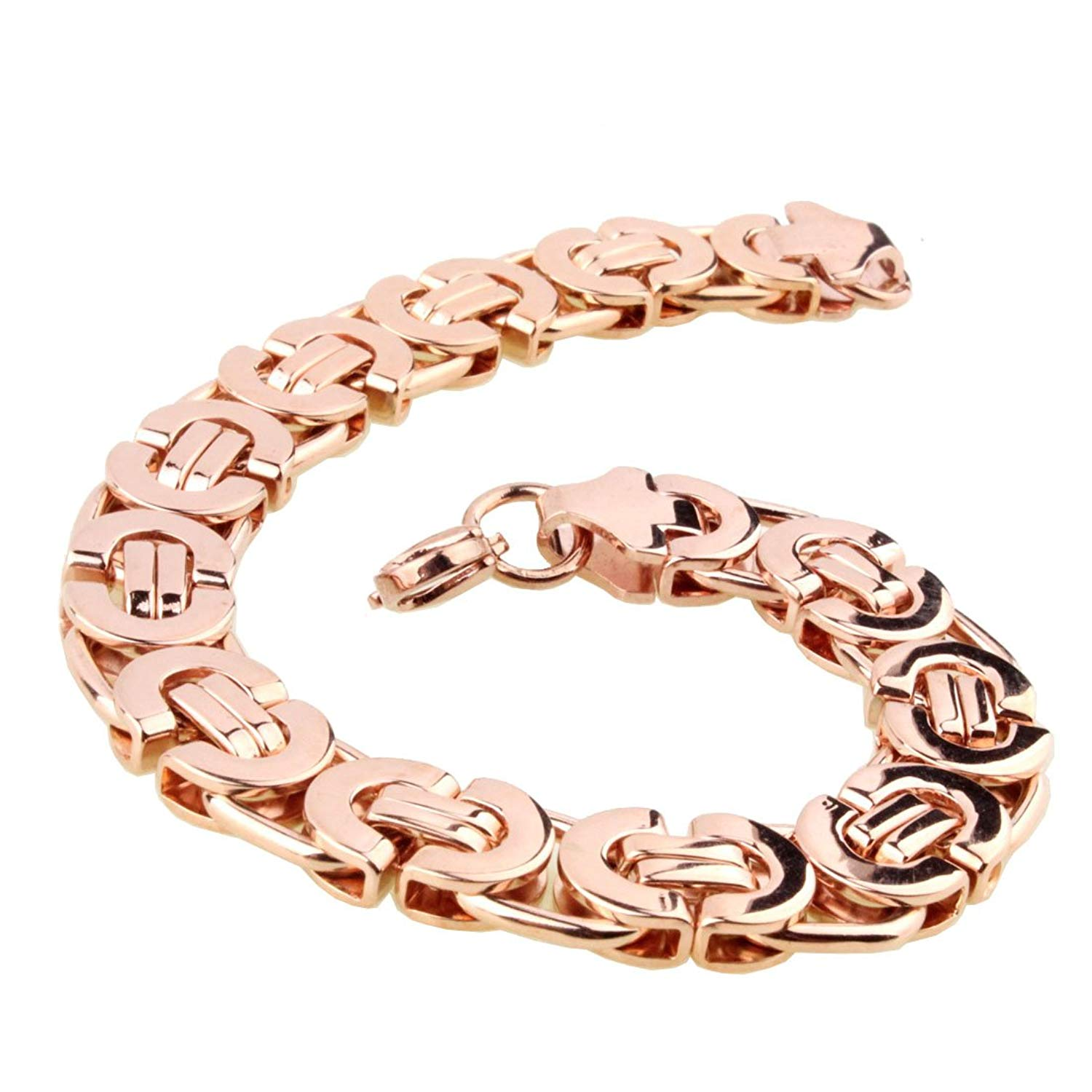 6/8/11mm Men's Chain Flat Byzantine 316L Stainless Steel Rose Gold Tone Necklace Bracelet 7-40inches